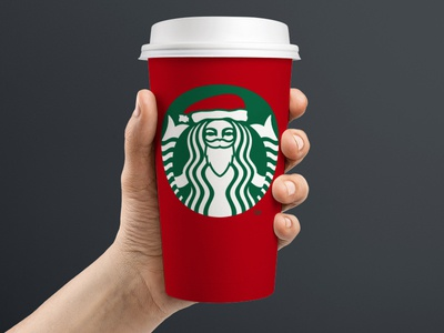 Starbucks 'Santa Siren' starbucks packaging holiday christmas coffee red green starbucks cup red cup