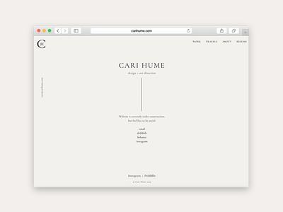 CariHume.com clean typography webdesign website portfolio .com landing page