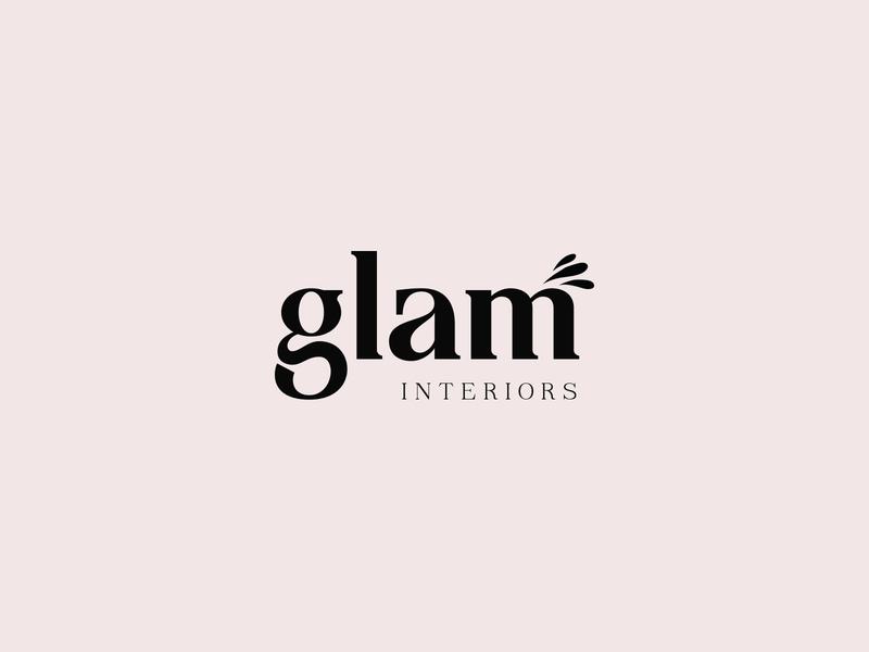 GLAM logo design typography logo beauty clean