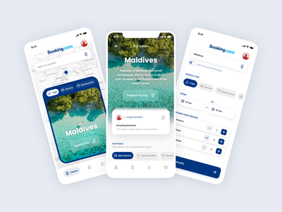 Booking Redesign Exploration hotel booking challenge app interface flat clean mobile minimal ui design