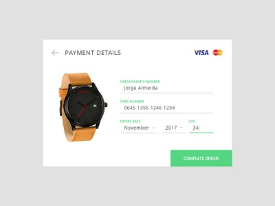 Day 004 - Credit Card Payment minimal payment visa form order days 100 ui web design