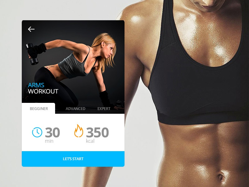 Day 008 - Fitness Card app cardio fitness tabs card blue minimal days 100 ui web design