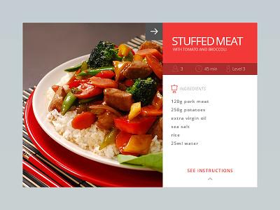 Day 009 - Recipe Card red food card minimal days 100 ui web design