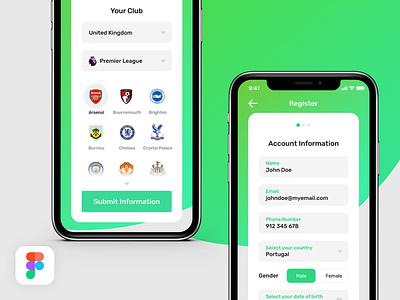 Design Challenge - Sports Register interface clean register app minimal color sports ux mobile ui challenge design