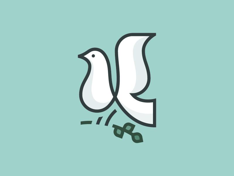 Kingdom Ministries monogram k minimal branding logo mark branch animal dove bird