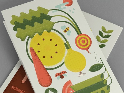 Earth Candy textures shape illustration vegetables bee melon peas beet onion tomato carrot