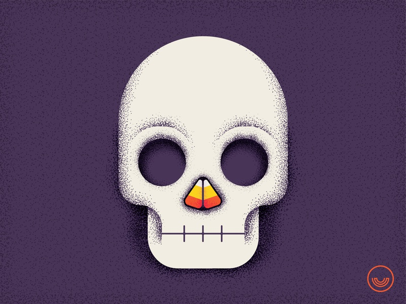 Wake-up and smell the candy texture stipple candy corn candy illustration art illustration skull halloween