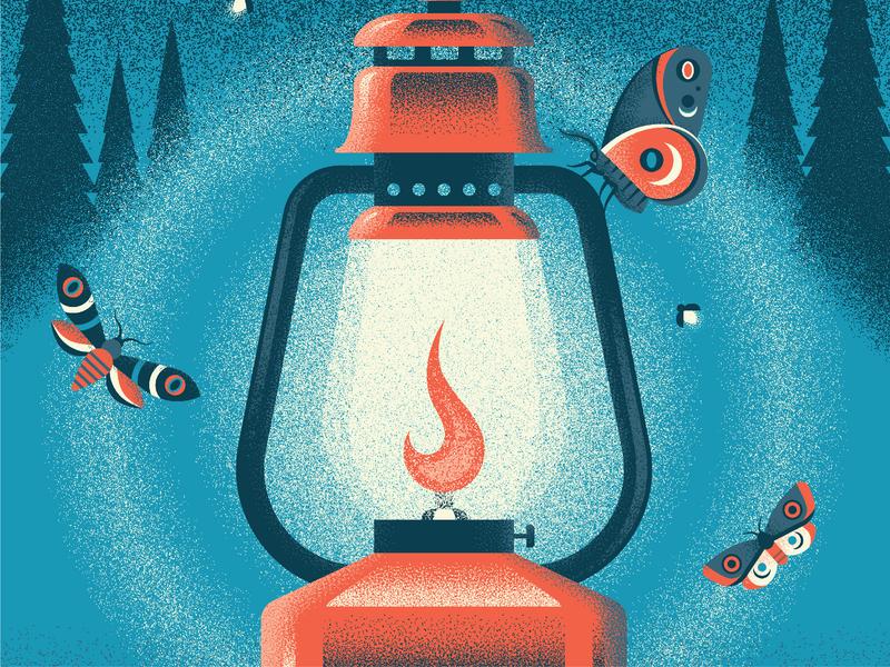 ReFrame Film Festival 2019 Poster illuminate poster camping lantern flame moth poster art texture grain vintage illustration