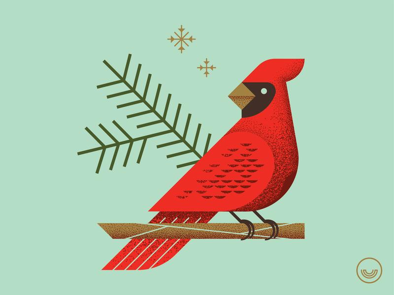 Christmas Illustration 2018 vector illustration vector artwork vector art texture grain illustration bird cardinal