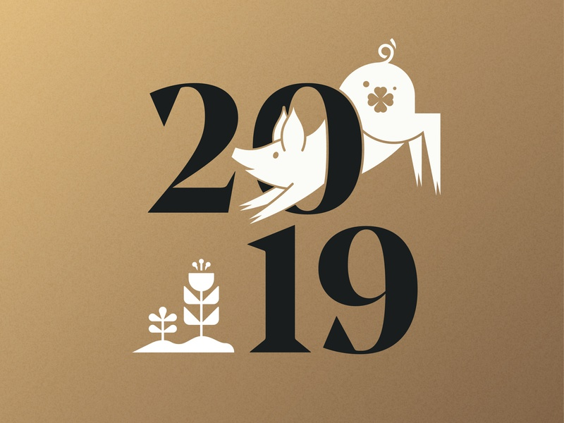 2019 Year Of The Pig animal iconography icon logo clover lucky year of the pig 2019 vector art illustration pig