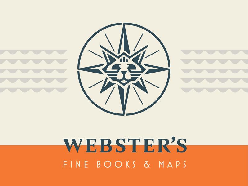 Webster's Fine Books & Maps star logotype logomark branding sun cat compass nautical icon logo