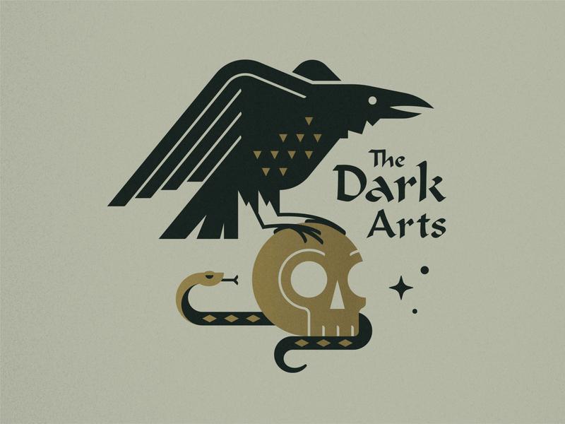 The Dark Arts halloween crow harrypotter wizard snake skull vector icon texture design illustration