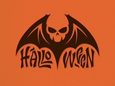 Halloween negative space halloween design halloween skull logo icon logo bat skull