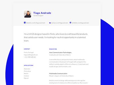 Personal resume designer ux ui print portfolio minimal clean profile branding personal cv resume