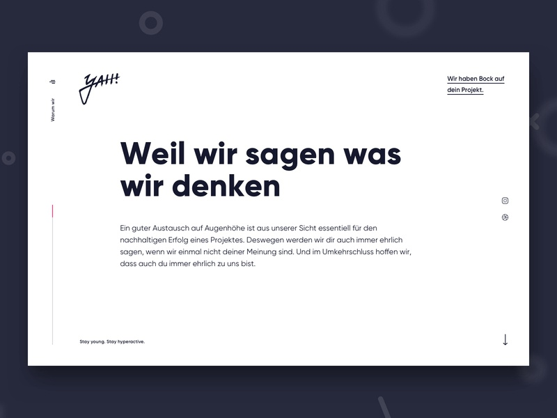 yah! Relaunch 2019 typography text landing germany ux ui web design design web website agency relaunch