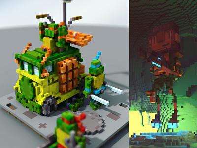 Space Turtles space tmnt magicavoxel voxel