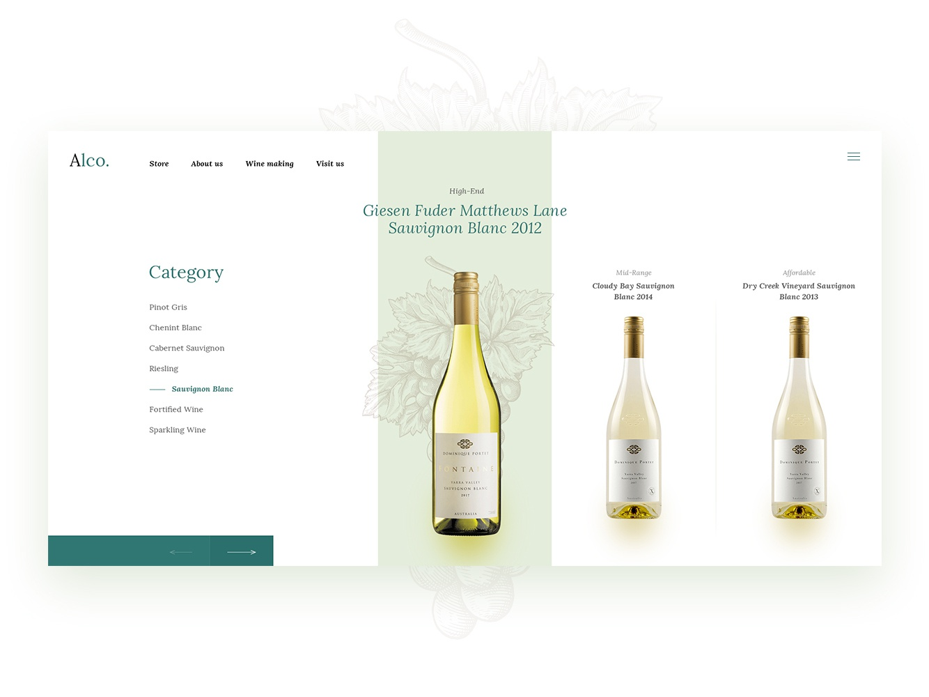 Product category - Alco page french wine alcohol grapes flat webdesign wine