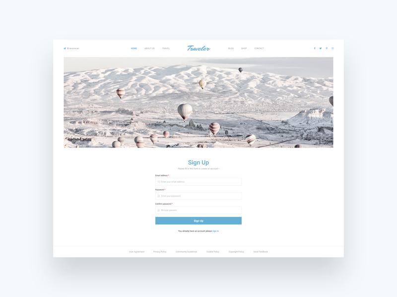 Daily Ui | 001 Signup ux web ui design white travel website signup clean blue traveler dailyui