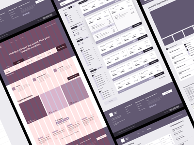 Wireframes for Holiday Booking Website uxdesign user flow hotels travel holidays flights booking wireframes