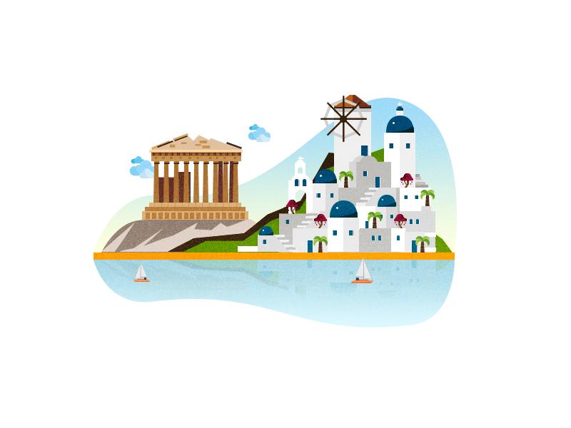 Greece Illustration travel landmarks city vector illustration vector art summer sea south athens greece