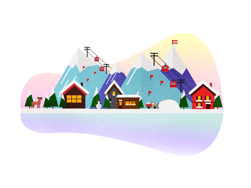 Alps, Winter Sports Illustration vector illustration vector art travel winter holidays winter vacation skiing alps winter sports