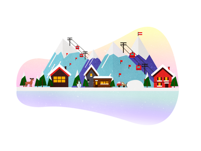 Alps, Winter Sports Illustration