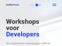Codeshops home page mobile