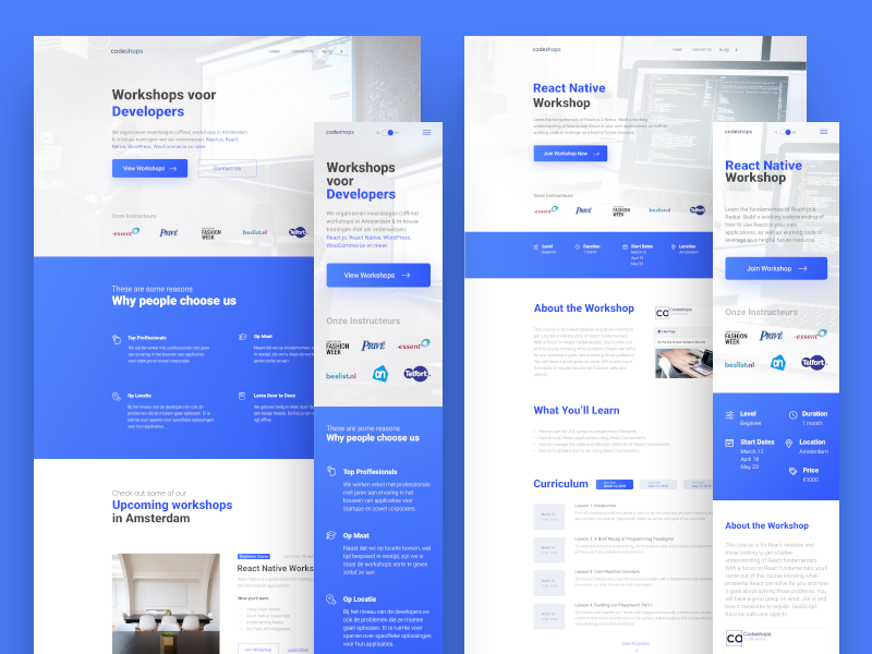 Responsive website redesign workshop home page minimal design responsive design landing page ux design ui design website redesign mobile design responsive