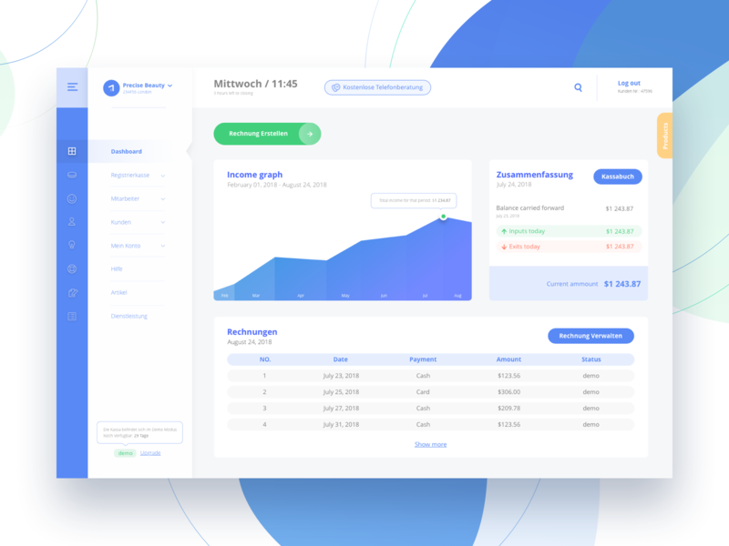 Dashboard for Austrian finance tracking system redesign graphic design minimal report finance progress menu analytics graphs clean style ux design ui design dashboard