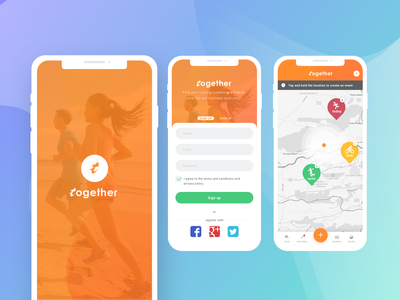 Fitness Tracker App ux ui onboarding interaction placeholder running minimal material ios together splash sign in sign up map location fitness tracker app store application app fitness