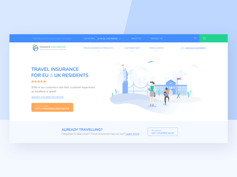 Globelink - Home web app clean app design students university statue of liberty usa insurance vector illustration minimal education city landmarks pwa ux design travel home page landing page user interface