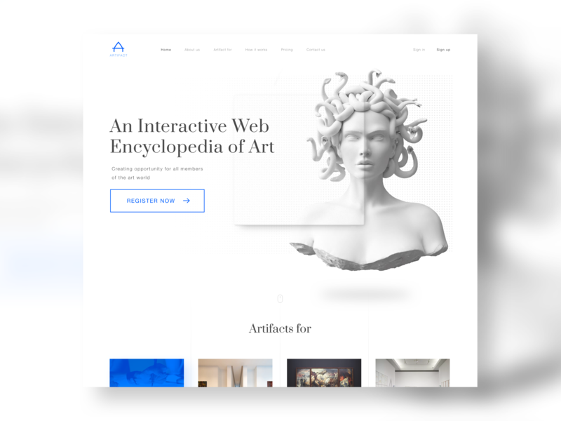 Artifact - Home gallery canvas meduza bust statue art landing page redesign home page ui design ux design minimal user interface
