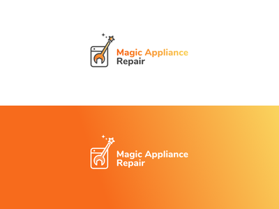 Logo for Home Appliance Repair Company rebranding tool washer vector magic wand magic appliance repair illustration vector illustration ui design logo