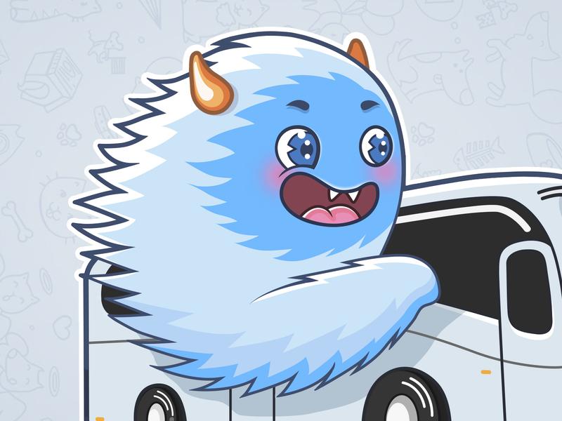 Yeti sticker illustraion monster telegram sticker bus yeti