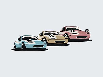 Mazda MX-5 Miata illustration simple design minimalist minimal simple designer vector illustration miata mazda stance automotive design automotive design car illustration vector flat