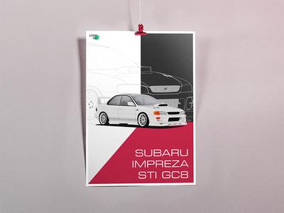 Subaru Impreza STI GC8 Illustration/Poster