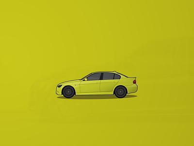 BMW E90 3 Series digital art realistic creative illustration creative illustration design yellow green vector flat automotive design vector art 2d stance tuning automotive car illustration illustrator car art bmw