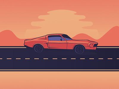 Mustang sunset gradient flat 2d explore car ride muscle car shelby desert sun warm vector illustration vector lineart sunset mustang