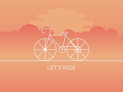 Let's Ride! like follow new logo icon orange logo vector gradient flat illustration bike ride ride sunset yellow orange bicycle bike