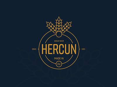Hercun Beer logo etiquette identity brand yellow gold blue circle logo design logodesign wheat branding beer branding beer label logo beer