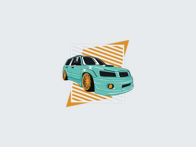 Subaru Forester Illustration digital vector illustrator car design car illustration flat jdm tuning stance offroad forester subie subaru