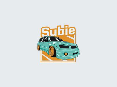 Slammed Subie mint yellow modern flat illustration design illustration vector flat 2d automotive design automotive car low tuning stance slammed logomolt subie forester subaru