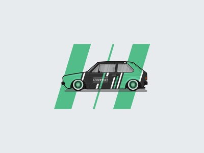 VW Golf Mk1 Livery design branding vector flat illustration white grey black green flat racecar race wheels bbs stance wrapping wrap vinyl livery volkswagen golf vw