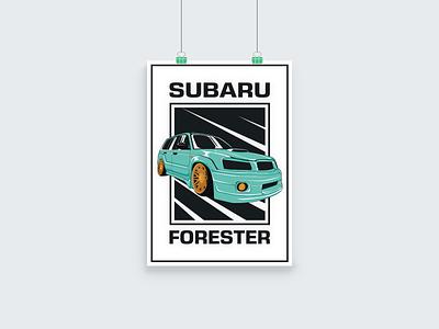 Subaru Forester Poster Design 2d automotive design race car car grey black mint green mint yellow vector flat poster art poster design illustration poster forester subaru