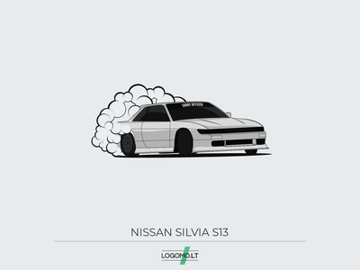 Nissan Silvia S13 illustrator art digital art 2d vector tires smoke grey illustrator illustration automotive design automotive car race car flat race racecar drifting drift nissan
