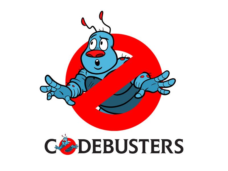 Codebusters Logo branding cartoon digital design logo design vector illustrator typography illustration logo codebusters