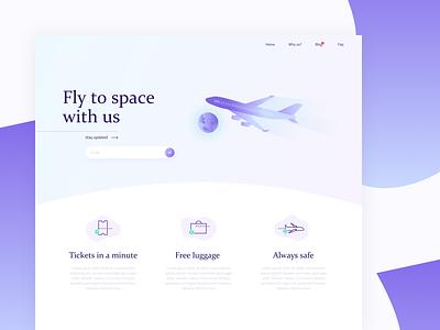 Airplane company landing page gradient illustration sketch design sky airplane website