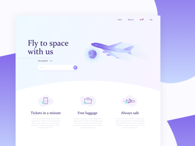 Airplane company landing page gradient illustration sketch design sky airplane website