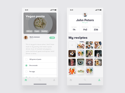Recipes app detail + profile screens 🍲 app app design foods iphone xs ios app concept recipe food recipe app food app