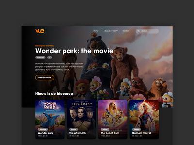 VUE Cinema homepage sketch dark movie cinema ui webdesign design web
